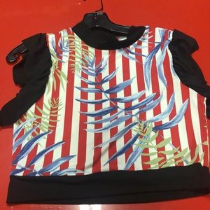 Floral Striped Crop Top Size Large